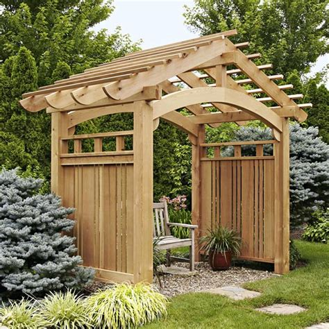 wood trellis plans arching garden arbor woodworking plan from wood magazine