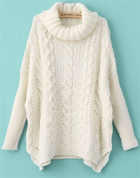 White Sweater white sleeve turtleneck chunky cable knit sweater