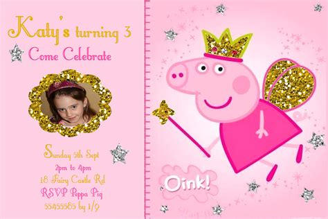 peppa pig invitations template items similar to peppa pig invitation personalized on etsy