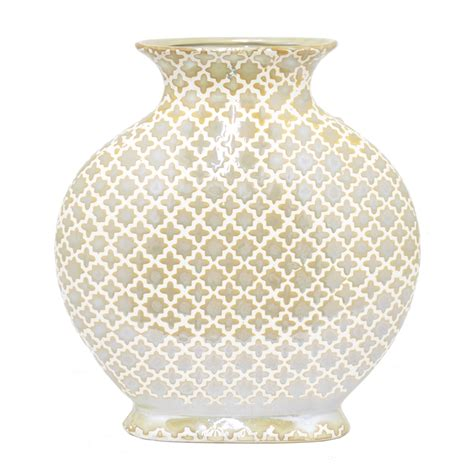 ceramic vase gold white