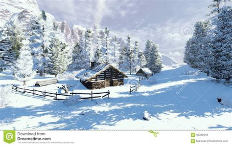 cozy cabin in a snowy mountains stock photo image