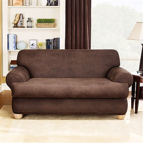 Brown Sofa Slipcover Sure Fit Stretch Leather 2 T Cushion Loveseat