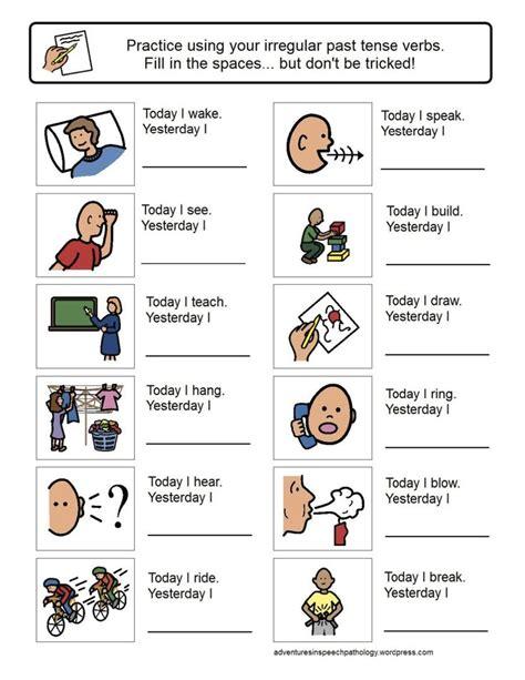 Speech Therapy Worksheets For Preschoolers by Irregular Past Tense Verb Worksheets Preschool Speech