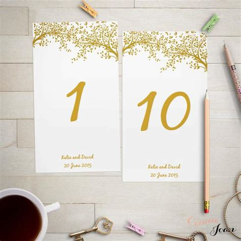 Wedding Table Number Template Gold Leaves Editable Wedding When We Were Table Numbers Template
