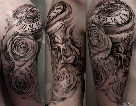 rose vine sleeve tattoo pocket sleeve tags bird clockwork half