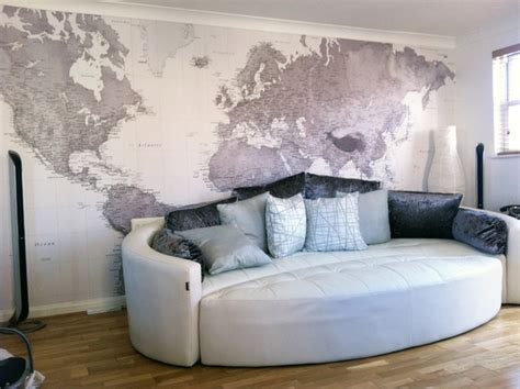 World Room by Black And White World Map Wallpaper