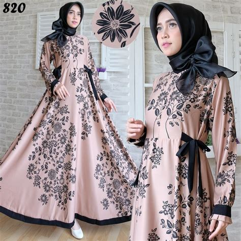 Gamis Dress Maxmara Motif Zeea gamis modern maxmara maxi 820 baju muslim remaja terbaru