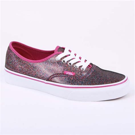 vans authentic glitter tsv8ne womens textile laced