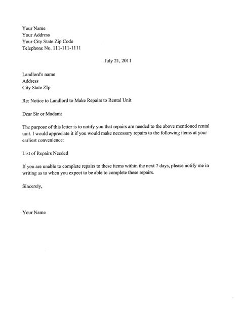 landlord letter templates 5 free sample example format download