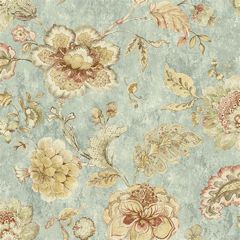 blue jacobean wallpaper rw40002 blue jacobean floral olivia rustico wallpaper