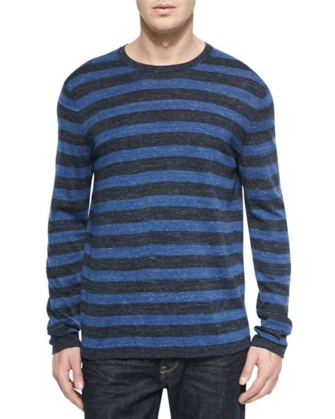 Stripe Sleeved Sweater 15217 lyst vince sleeve striped crewneck sweater in blue