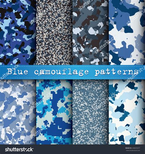 Set Army Blue set of 8 blue camouflage patterns vector 248033377