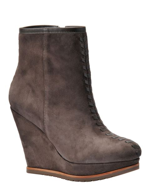 isola zurich suede wedge ankle boots in brown mauve grey