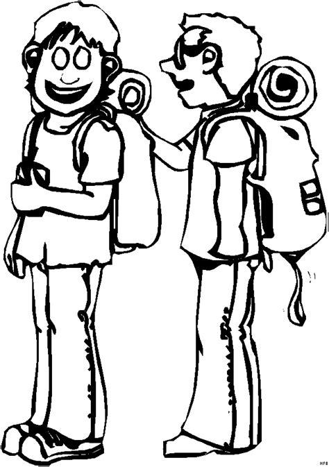 junge beim wandern ausmalbild malvorlage comics