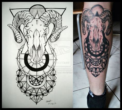 mandala head tattoo goat skull and mandalas on back leg