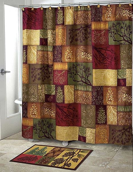 log cabin shower curtains adirondack pine shower curtain collection cabin place