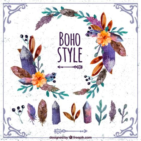 free vector watercolor bohemian feather pattern download watercolor floral boho decoration vector free download