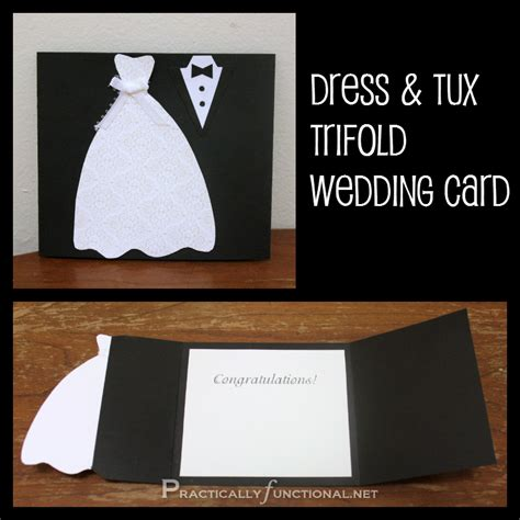 diy wedding card dress tux trifold printable