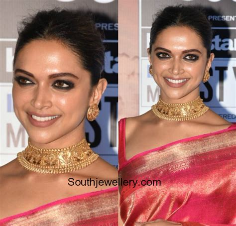 deepika padukone choker deepika padukone in gold choker and studs jewellery designs