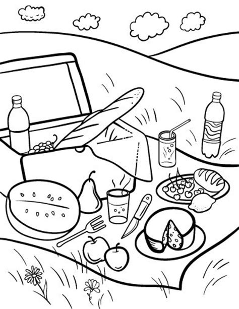 printable picnic coloring page free pdf download at http