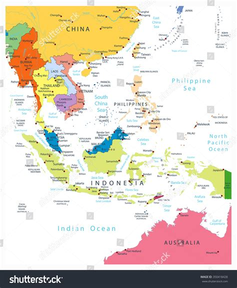 political map of se asia southeast asia political map isolated on stock vector