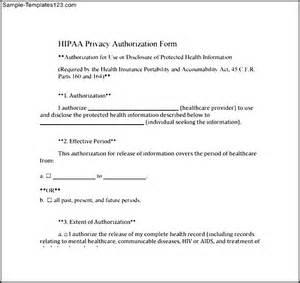 Hipaa Templates Free by Hipaa Privacy Authorization Form Sle Templates