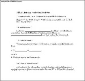 Hipaa privacy authorization form sample templates