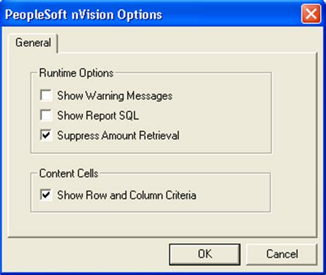 setting ps nvision options