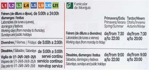 horario del servicio del metro 2016 horario metro barcelona actualizado en enero 2016