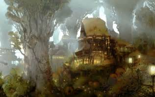 fantasy houses grand hall of the wood elves computer wallpapers desktop