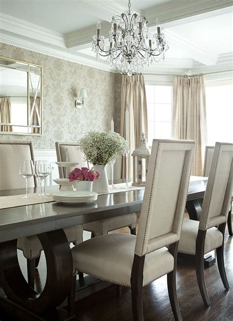 Glam Dining Room Furniture Table And Chairs Silk And Coffered Ceilings On