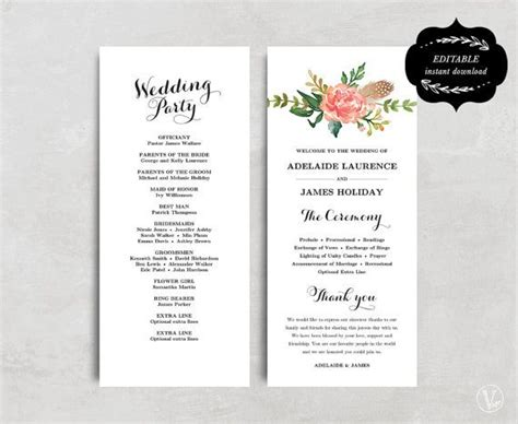 printable wedding program templates best 25 program template ideas on wedding