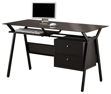 Modern Metal Desks Shop Houzz Co Furniture Black Simple Metal Glass 2 Storage Drawers Pullout Keyboard Shelf