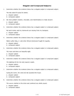 Singular and Compound Subjects (Grade 6) - Free Printable