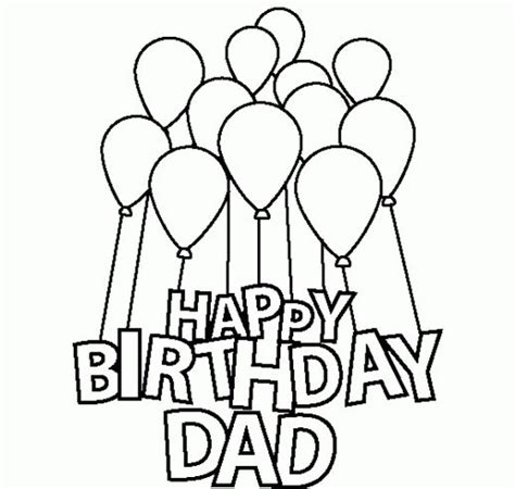 printable birthday cards to color for dad happy birthday dad coloring pages for kids birthdays