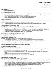 Administrative Assistant Objective Resume Sle by Resume Profile Exles Administration Augustais