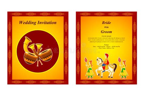 hindu wedding ceremony cards design templates indian wedding invitation card stock vector illustration