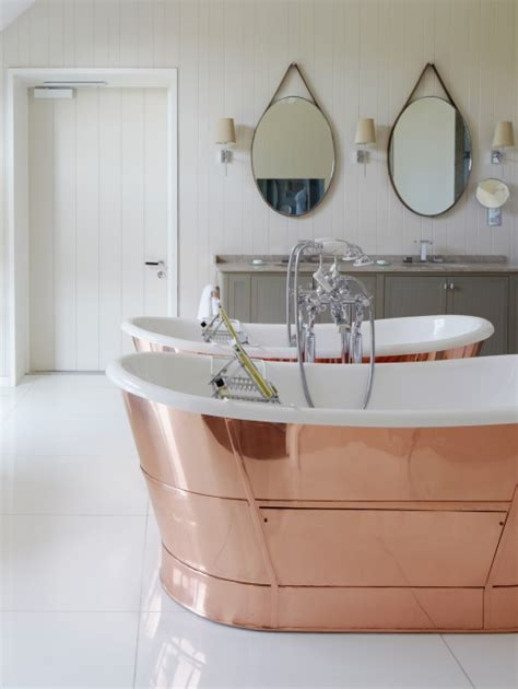 Just Two Fabulous Bathrooms by Copper Tub With Vintage Style Tub Filler Transitional