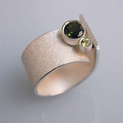 Handmade Ring - contemporary handmade silver ring q with turmalin
