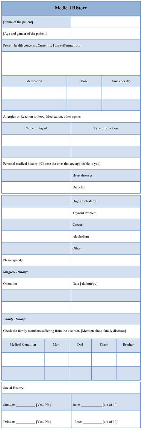 medical template for history template of medical history