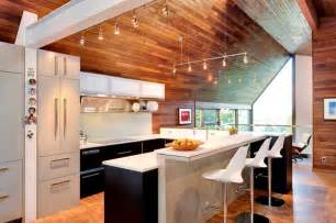 unique living decke kitchen with wooden walls and ceiling