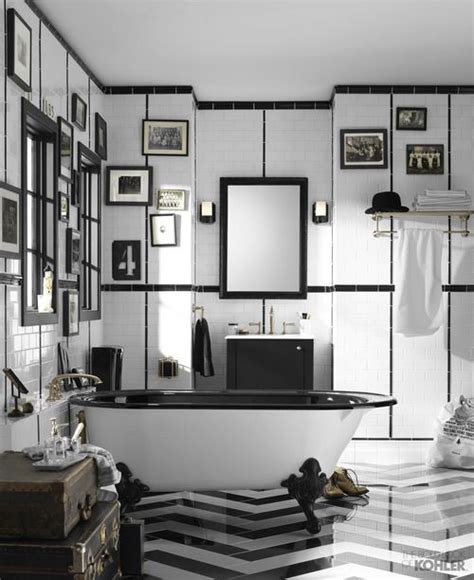 vintage black and white bathroom vintage black and white bathroom bold bathroom tile chevron bathroom tile kohler artifacts