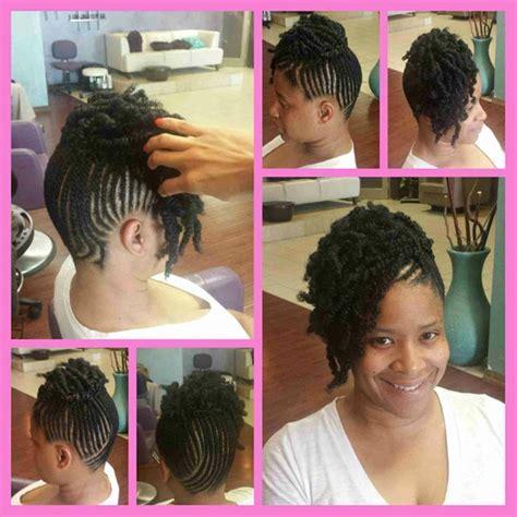 updo hairstyles with crochet braids partial bomb twist cornrow combo by styleseat pro shaketa