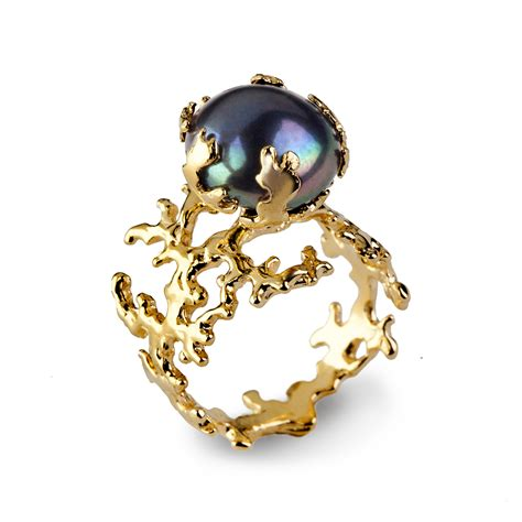 coral pearl black pearl ring gold pearl ring by aroshataglia