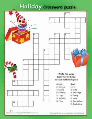 easy holiday crossword puzzles printable 1st grade christmas worksheets free printables