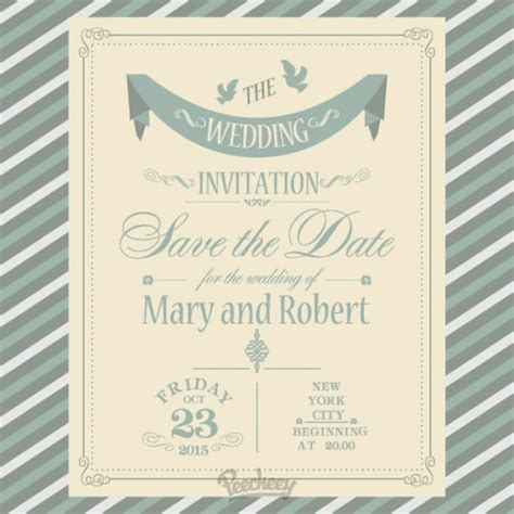 simple wedding invitation free vector in adobe illustrator