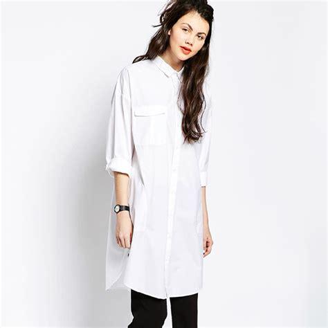 26731 White Oversize Dress Dress Putih wholesale white shirt dress boyfriend style