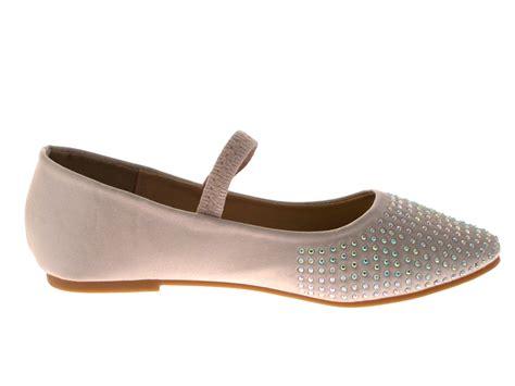 flat shoes size 5 satin diamante ballet pumps childrens flat