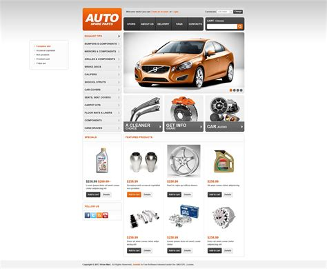 Auto Spare Parts Virtuemart Template 44585 Auto Spare Parts Website Template Free