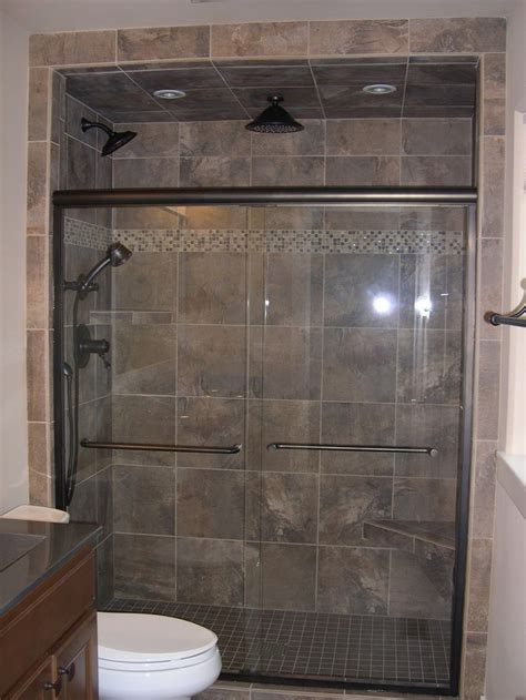 bathroom showers ideas custom walk in tile shower with glass stone accent stripe